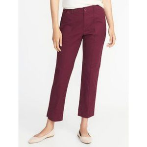 Old Navy Straight Mid-Rise Raw-Edge Utility Chinos